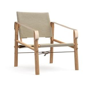 Beżowe krzesło składane z bambusową konstrukcją We Do Wood Nomad