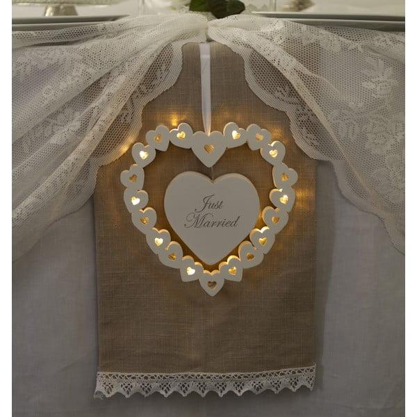 Dekoracja ślubna z lampką LED Wooden Heart