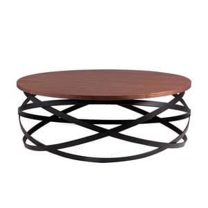 Czarny stolik z blatem w dekorze drewna orzechowego sømcasa Dario