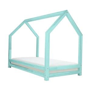 Turkusowe łóżko 1-osobowe z drewna sosnowego Benlemi Funny, 90x200cm