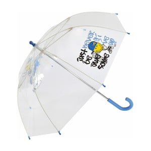 Dziecięcy parasol przezroczysty z niebieską rączką Smiley World