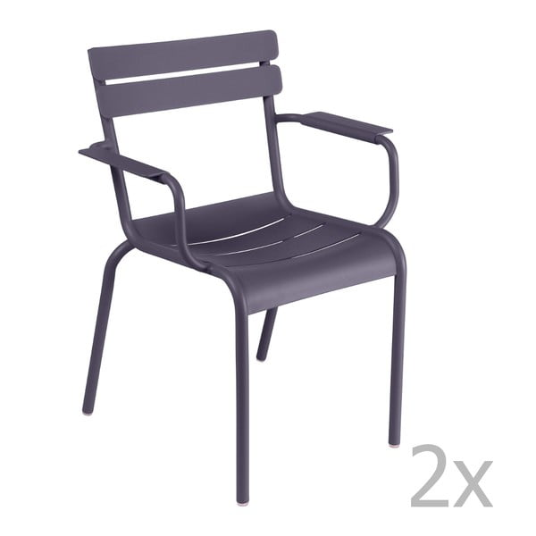 Zestaw 2 liliowych krzeseł z podłokietnikami Fermob Luxembourg