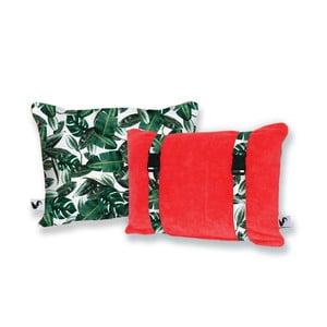 Czerwona dwustronna poduszka plażowa Origama Leaf