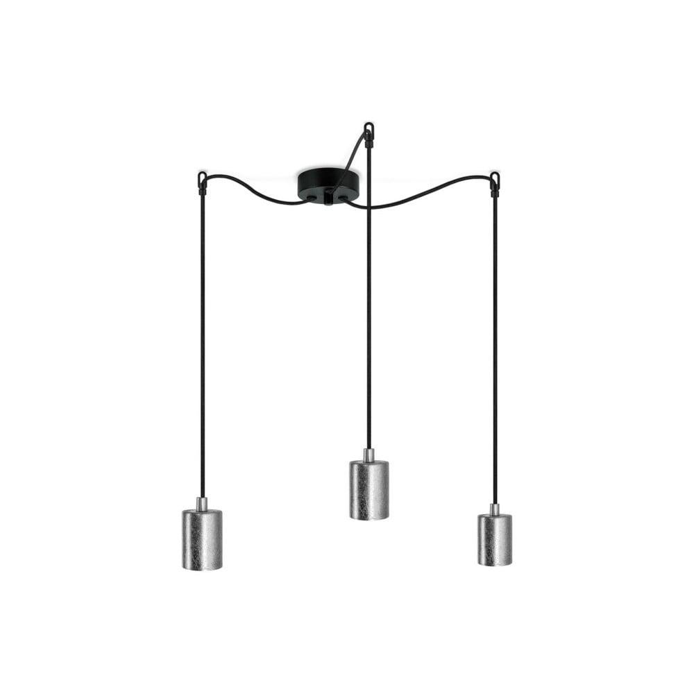 Czarna potrójna lampa wisząca z oprawami żarówek w kolorze srebra Bulb Attack Cero
