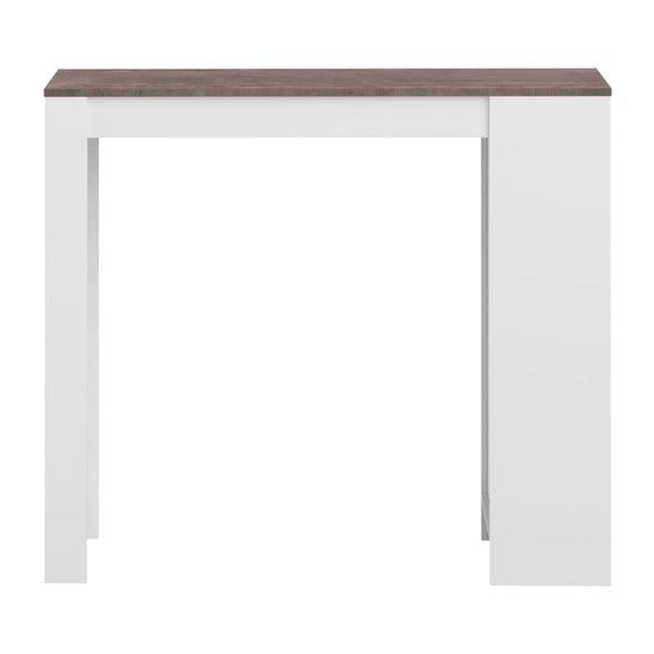 Biały stół barowy z brązowym blatem TemaHome Aravis