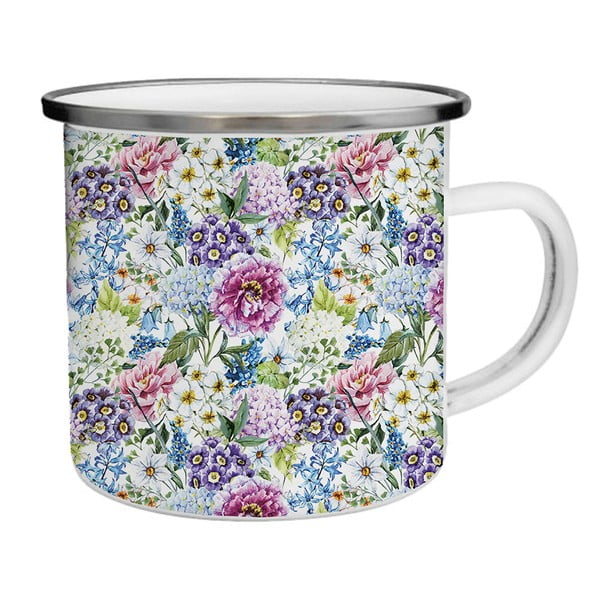 Kubek emaliowany w kolorowe kwiaty TinMan, 200 ml