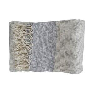 Jasnoniebieski ręcznie tkany ręcznik z bawełny premium Nefes,100x180 cm