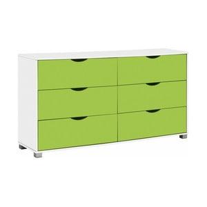 Biało-zielona komoda z 6 szufladami Støraa Nelson