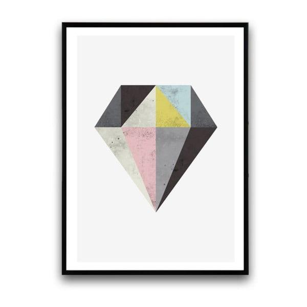 Plakat w drewnianej ramie Diamond, 38x28 cm