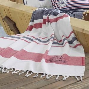 Ręcznik plażowy Marine Organic Navy Red, 100x170 cm