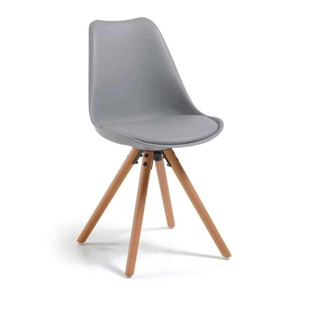 Szare krzesło z bukowymi nogami loomi.design Lumos