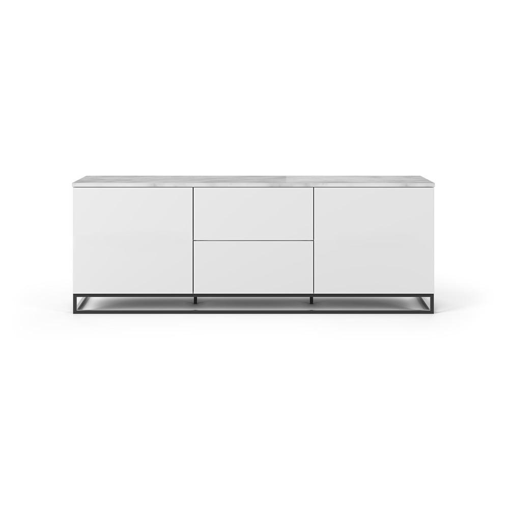 Biała szafka pod TV z jasnym blatem i czarnymi nogami TemaHome Join, 180x65 cm