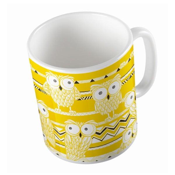 Ceramiczny kubek Yellow Owls, 330 ml