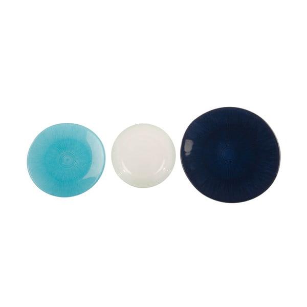 Komplet 18 szklanych talerzy Perla