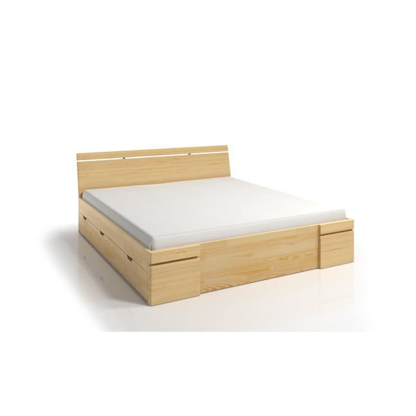 Łóżko 2-osobowe z drewna sosnowego z szufladą SKANDICA Sparta Maxi, 140x200 cm