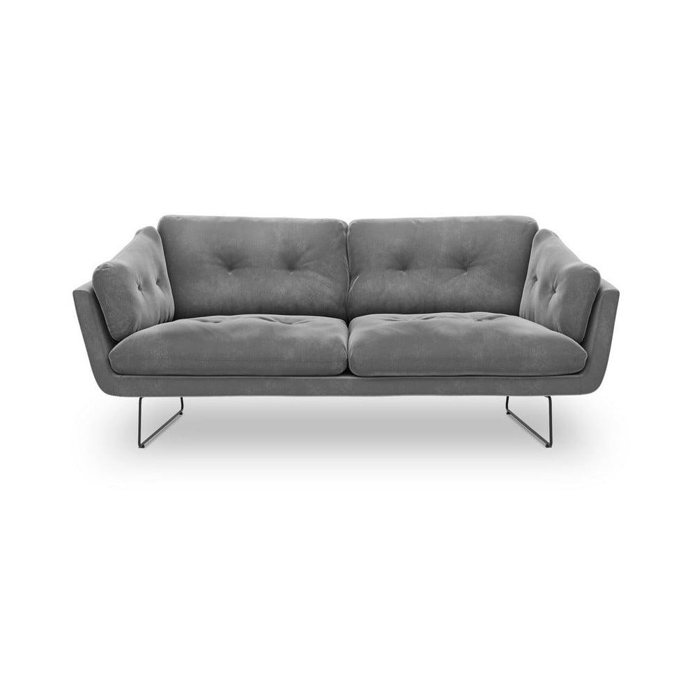 Szara 3-osobowa sofa z aksamitnym obiciem Windsor & Co Sofas Gravity