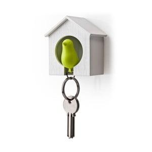 Wieszak na klucze wróbelek w budce, zielony