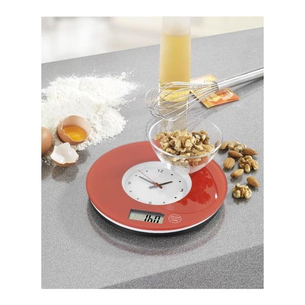 Czerwona waga kuchenna z zegarem Wenko Clock