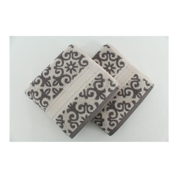 Zestaw 2 ręczników Shiraz Cream Grey, 50x90 cm