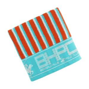 Turkusowo-pomarańczowy bawełniany ręcznik BHPC, 50x100 cm
