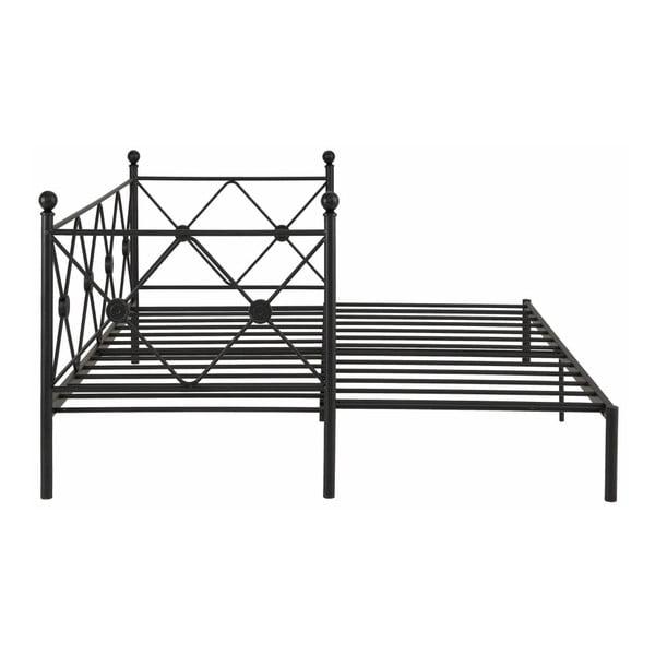 Czarne rozkładane łóżko jednoosobowe Støraa Johnson, 90/180x200cm