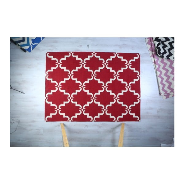 Dywan wełniany Geometry Home Red & White, 160x230 cm