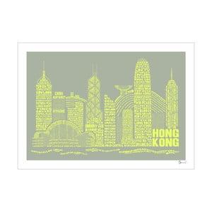 Plakat Hong Kong Grey&Yellow, 50x70 cm