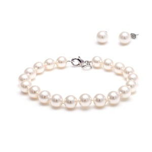 Komplet bransoletki i kolczyków z pereł słodkowodnych Mother, biały