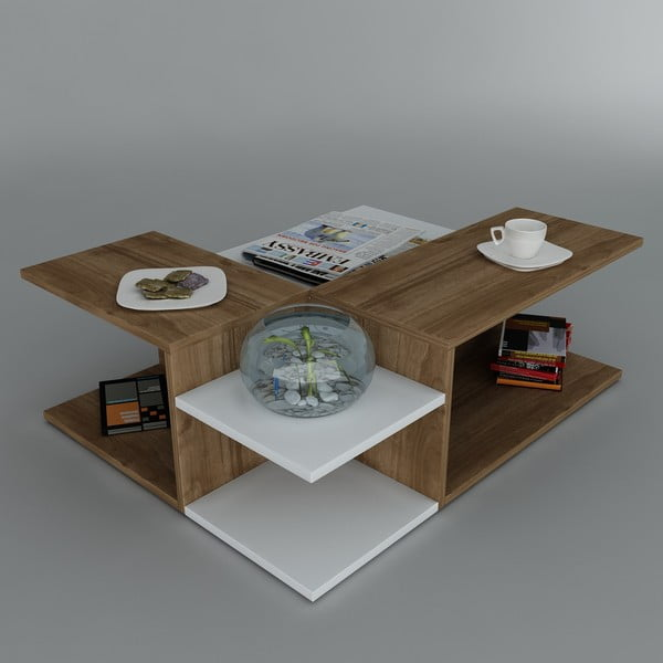 Stolik kawowy Friend Coffee White/Walnut, 95x31,8x75 cm