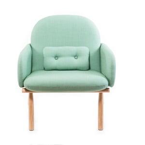 Zielony fotel z nogami z drewna dębowego Harto Georges