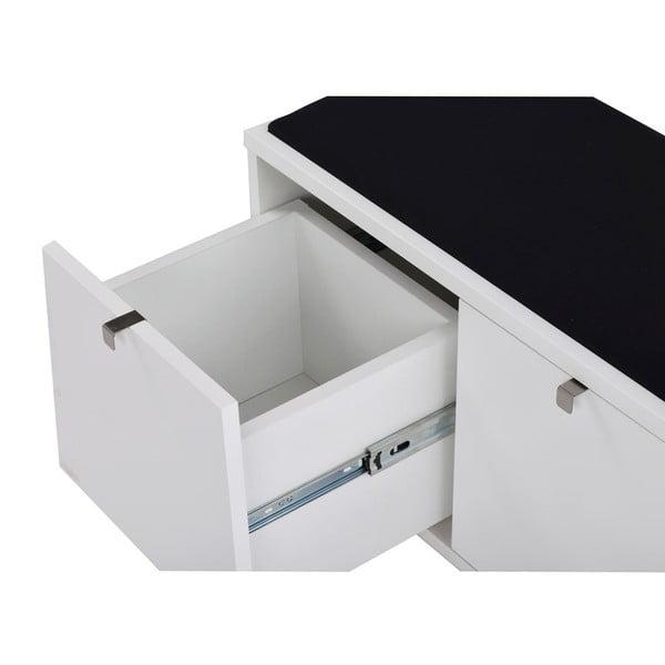 Biała ławka ze schowkiem i z czarnym siedziskiem Rowico Confetti, szer. 106cm