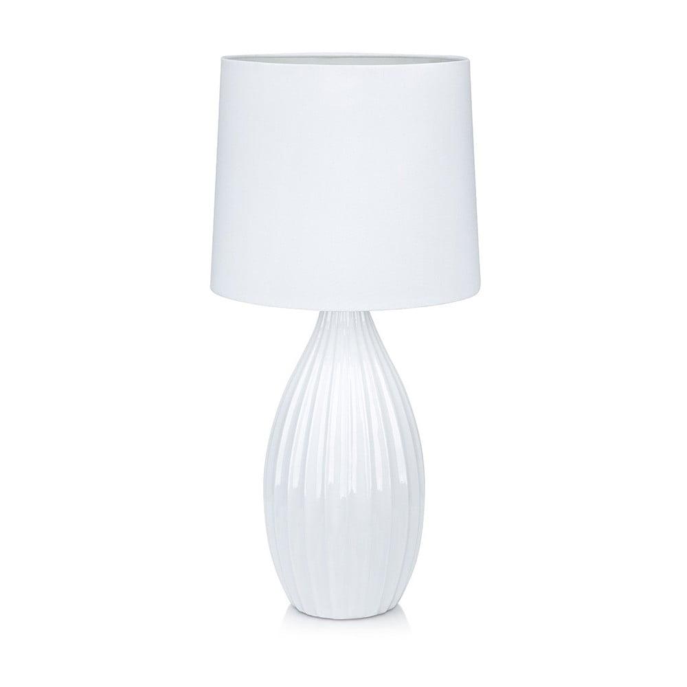 Biała lampa stołowa Markslöjd Stephanie, ø24cm