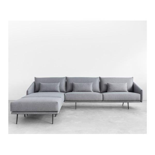 Sofa narożna z otomaną Costrua, szara