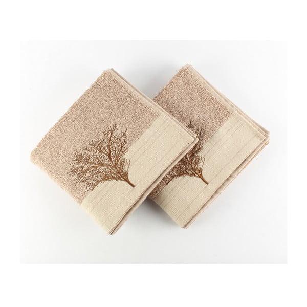 Zestaw 2 jasnobrązowych ręczników bawełnianych Infinity, 50x90cm