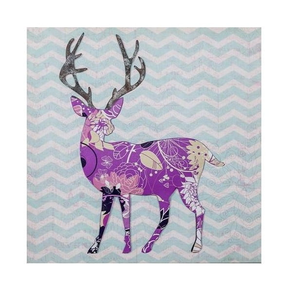 Obrazek 3D Ewax Purple Reindeer, 40x40 cm