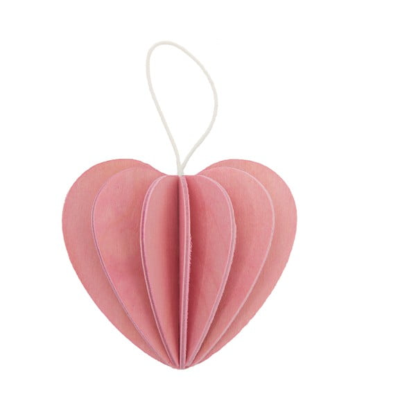 Składana pocztówka Heart Light Pink, 6.8 cm