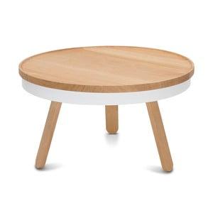 Biało-brązowy stolik ze schowkiem Woodendot Batea M