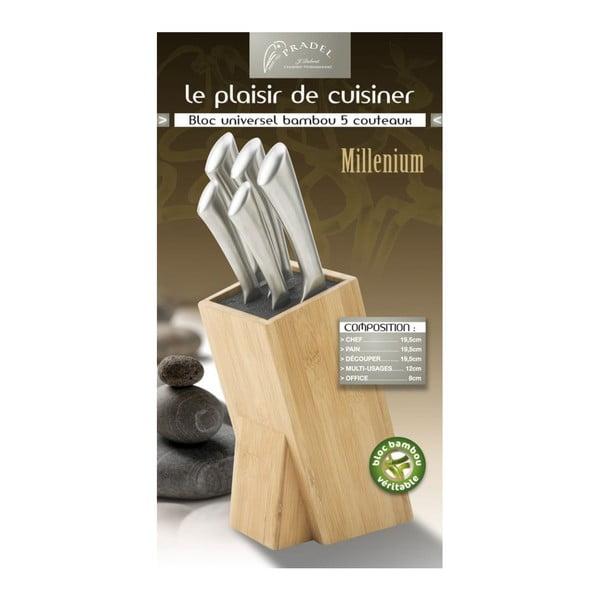 Komplet 5 noży z blokiem Jean Dubost Gine Milenium Bamboo