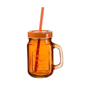 Ciemnopomarańczowa szklanka z wieczkiem i słomką SUMMER FUN II BUNT, 450 ml