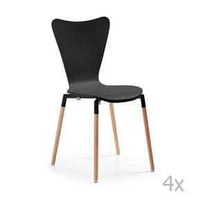 Zestaw 4 czarnych krzeseł jadalnianych La Forma Eclectic