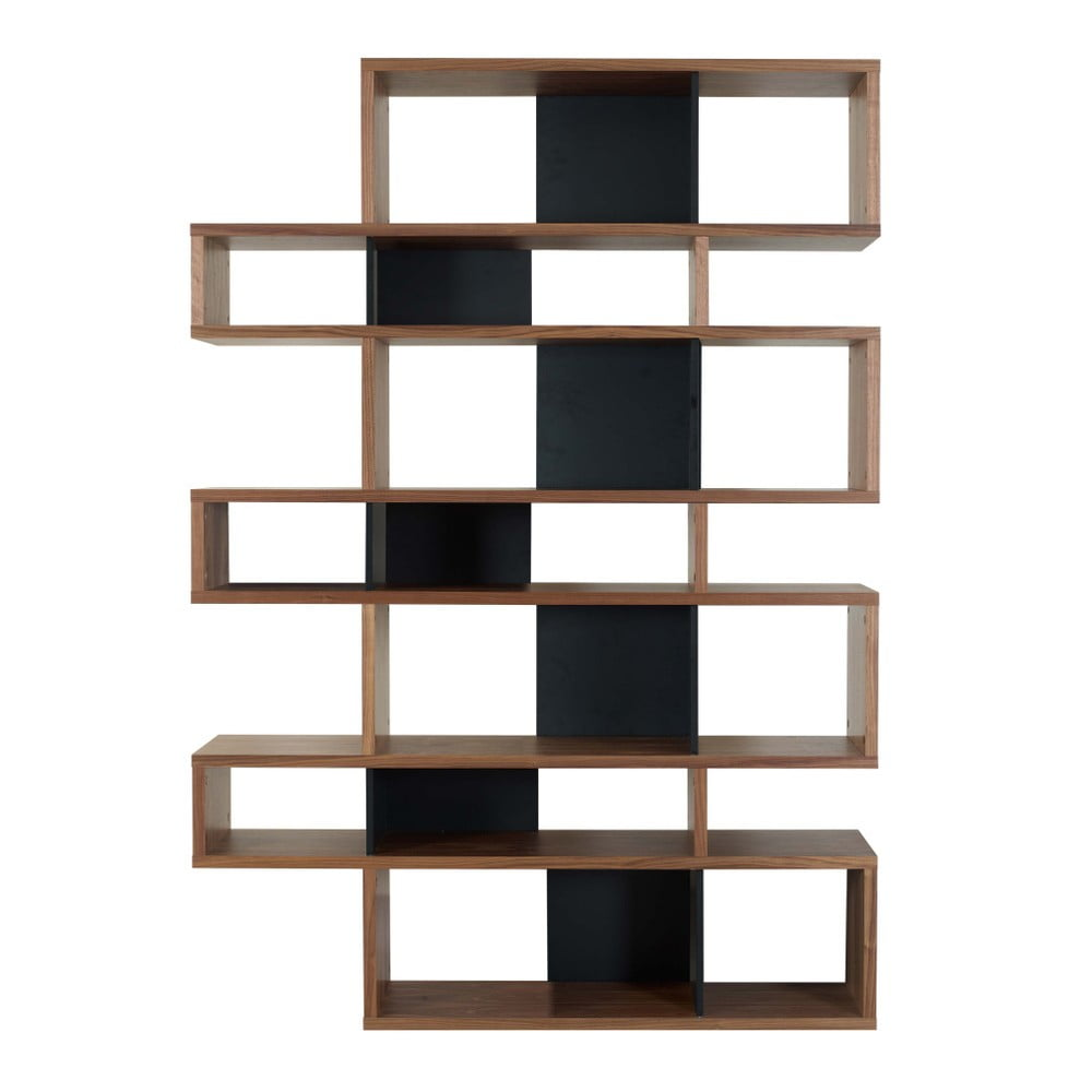 Czarny regał z detalami w dekorze drewna orzecha TemaHome London