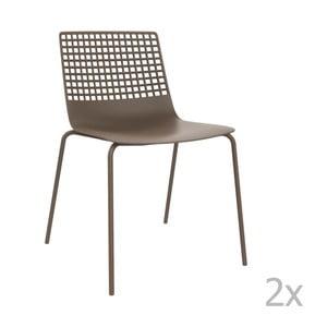 Zestaw 2 brązowych krzeseł ogrodowych Resol Wire