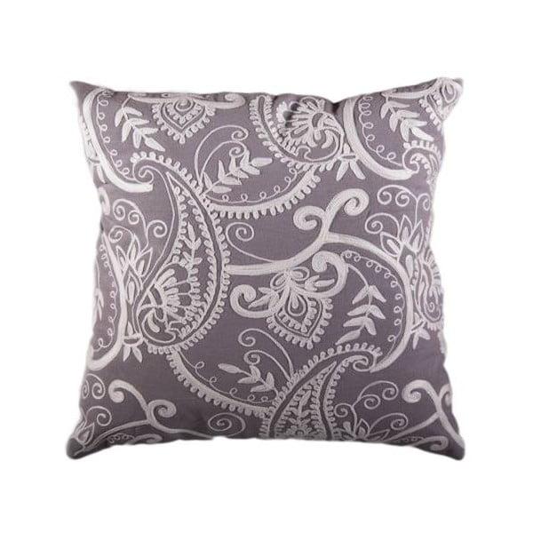Poszewka na poduszkę, szara z białym ornamentem