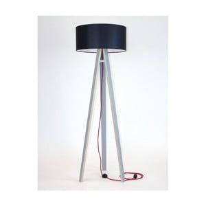 Szara lampa stojąca z czarnym abażurem i czerwonym kablem Ragaba Wanda