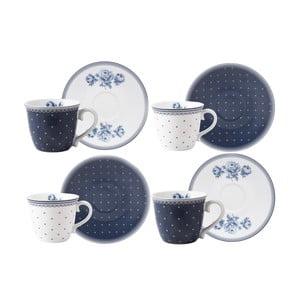 Zestaw 4 porcelanowych filiżanek do espresso ze spodkiem Creative Tops Vintage Indigo