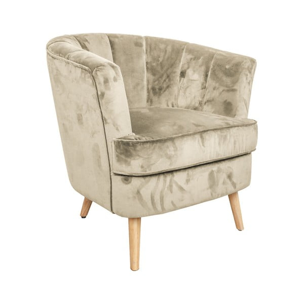 Beżowy aksamitny fotel Evegreen House Gold