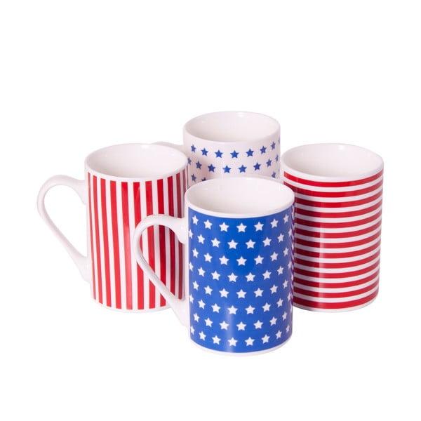 Komplet 4 porcelanowych kubków Stars and Stripes