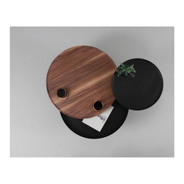 Brązowy stolik z drewna dębowego ze schowkiem Woodendot Batea M