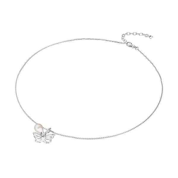 Srebrny   naszyjnik z zawieszką i perłą Chakra Pearls Butterfly, 42 cm