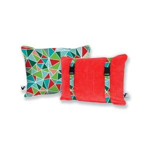 Czerwona dwustronna poduszka plażowa Origama Geo